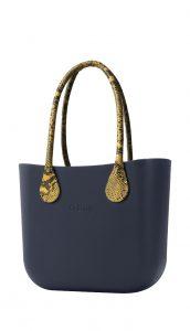 O bag kabelka MINI Navy s dlouhými žlutými koženkovými držadly Snake