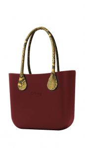O bag kabelka MINI Bordeaux s dlouhými žlutými koženkovými držadly Snake
