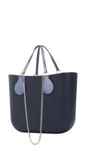 O bag kabelka MINI Navy s řetízkovým držadlem a modrou koženkou