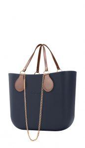 O bag kabelka MINI Navy s řetízkovými držadly a pudrovou koženkou