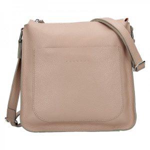 Trendy dámská kožená crossbody kabelka Facebag Miriana – béžová