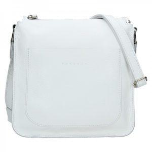 Trendy dámská kožená crossbody kabelka Facebag Miriana – bílá