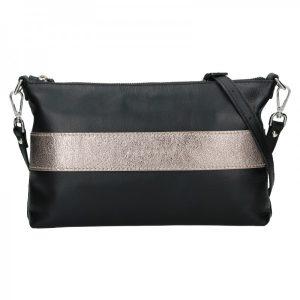 Trendy dámská kožená crossbody kabelka Facebag Elesn – černo-zlatá