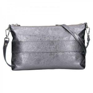 Trendy dámská kožená crossbody kabelka Facebag Elesn – stříbrná