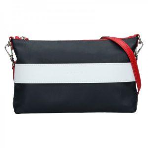 Trendy dámská kožená crossbody kabelka Facebag Elesn – modro-bílá
