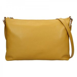 Trendy dámská kožená crossbody kabelka Facebag Elesn – žlutá