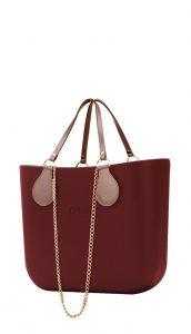 O bag kabelka MINI Bordeaux s řetízkovými držadly a pudrovou koženkou
