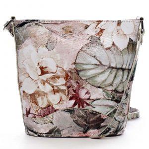 Taupe kožená crossbody kabelka – ItalY Bryana Flower taupe