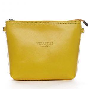 Dámská kožená crossbody kabelka žlutá – ItalY Garnet žlutá