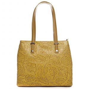 Exkluzivní dámská kožená kabelka žlutá – ItalY Logistilla žlutá