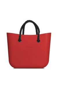 Obag kabelka MINI Rosso s černými krátkými provazovými držadly