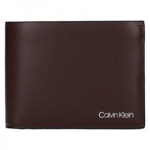 Pánská kožená peněženka Calvin Klein Ferian – tmavě hnědá