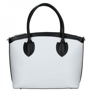 Dámská kožená kabelka Vera Pelle Klára – bílo-černá