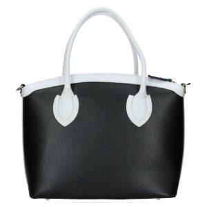 Dámská kožená kabelka Vera Pelle Klára – černo-bílá