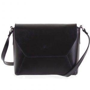 Černá dámská kožená crossbody kabelka – ItalY Dunya Two černá