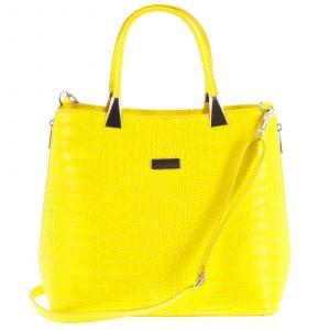 Luxusní dámská kožená kabelka žlutá – ItalY Marion žlutá