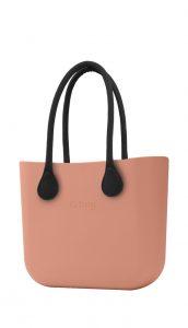 O bag kabelka MINI Rouge/Phard s černými dlouhými koženkovými držadly