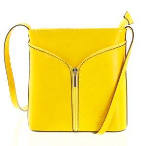 Dámská kožená crossbody kabelka žlutá – ItalY Hallie žlutá