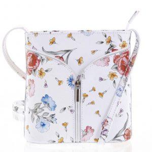Dámská kožená crossbody kabelka bílá – ItalY Hallie Flower bílá
