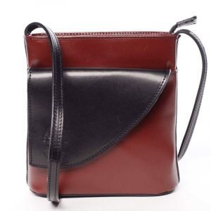 Dámská kožená crossbody kabelka červeno černá – ItalY Cora červená
