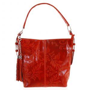 Dámská kožená kabelka přes rameno červená – ItalY Heather červená