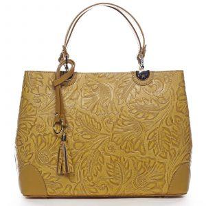 Originální dámská kožená kabelka tmavě žlutá – ItalY Mattie žlutá