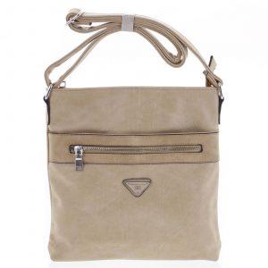 Trendy měkká crossbody kabelka tmavě béžová – Delami Devyn béžová
