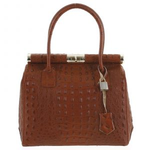 Luxusní dámská kožená kabelka do ruky tmavě červená – ItalY Hyla Kroko červená