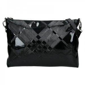 Dámská kožená vzorovaná crossbody kabelka Facebag Elesna – černá