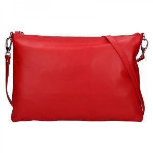 Trendy dámská kožená crossbody kabelka Facebag Elesna – červená