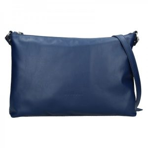 Trendy dámská kožená crossbody kabelka Facebag Elesna – modrá