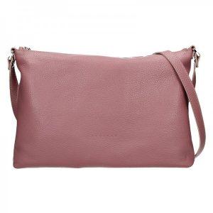 Trendy dámská kožená crossbody kabelka Facebag Elesna – růžová