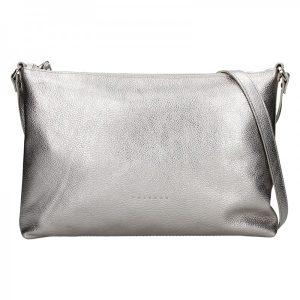 Trendy dámská kožená crossbody kabelka Facebag Elesna – stříbrná