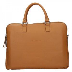 Unisex kožená taška na notebook Facebag Milano – hnědá