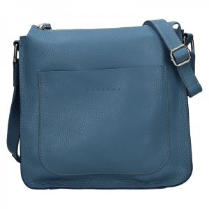 Trendy dámská kožená crossbody kabelka Facebag Miriana – modrá