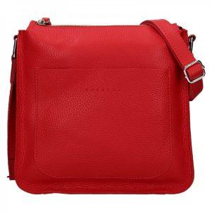 Trendy dámská kožená crossbody kabelka Facebag Miriana – červená