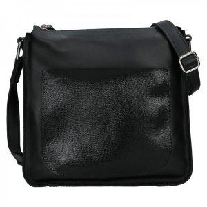 Trendy dámská kožená crossbody kabelka Facebag Miriana – černá