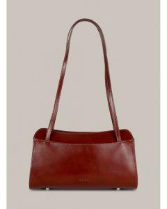 Kara vínovo-hnedá kožená kabelka na rameno