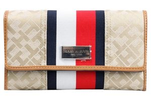 Tommy Hilfiger Dámská peněženka Stripe Logo Print krémová