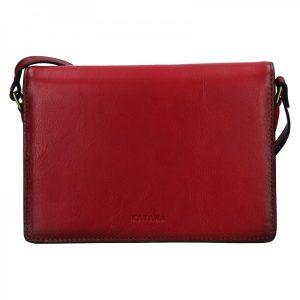 Kožená dámská crosbody kabelka Katana Amande – tmavě červená