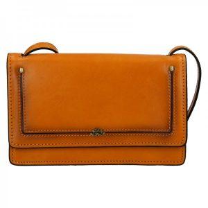 Kožená dámská crosbody kabelka Katana Nicca – oranžovo-hnědá