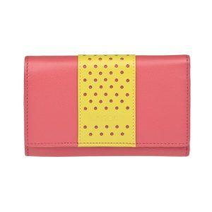 Dámská kožená peněženka Lagen Lada – růžovo-žlutá