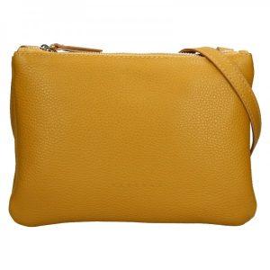 Trendy dámská kožená crossbody kabelka Facebag Beatrice – hořčicová