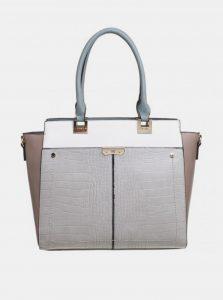 Světle šedá kabelka s krokodýlím vzorem Bessie London