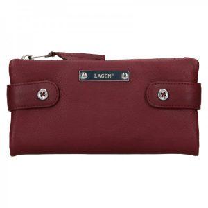 Dámská kožená peněženka Lagen Monica – vínová