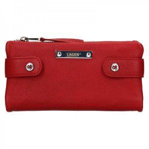Dámská kožená peněženka Lagen Monica – červená