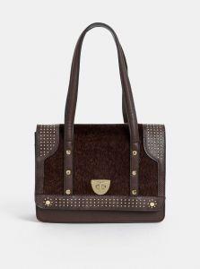 Bessie London tmavě hnědá kabelka s umělým kožíškem