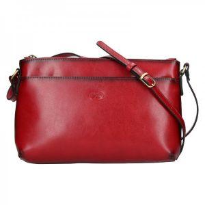 Kožená dámská crosbody kabelka Katana Ednna – tmavě červená