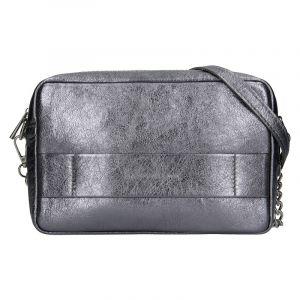 Trendy dámská kožená crossbody kabelka Facebag Ninas – stříbrná