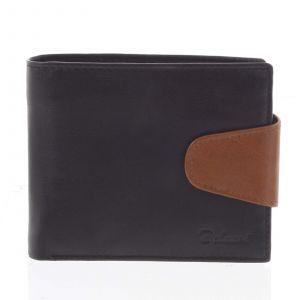 Pánská kožená peněženka černo hnědá – Delami 11816 černá